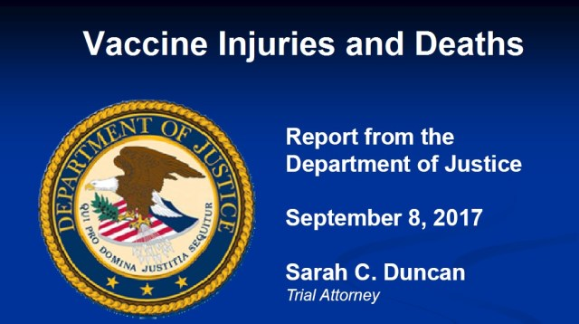 September DOJ Vaccine Injuries and Deaths Report - Government Issues First Report in 2017 on Vaccine Injuries and Deaths: 275 Injured 4 Dead from Flu Shot