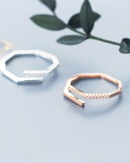 Modern silver and rose gold adjsuutable ring