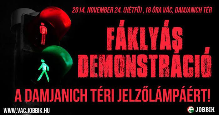 Jobbik fáklyás demonstráció a zebránál-700