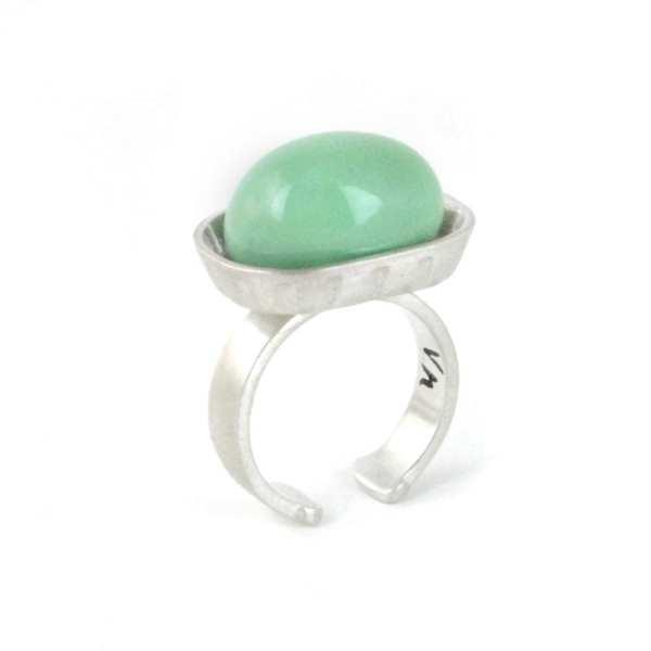anillo de plata jabonera, porcelana turquesa