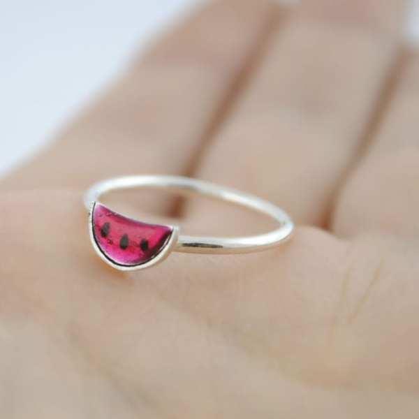 anillo de plata sandia