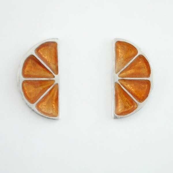 Pendientes de Plata y Esmalte, Gajo de Naranja, Pomelo