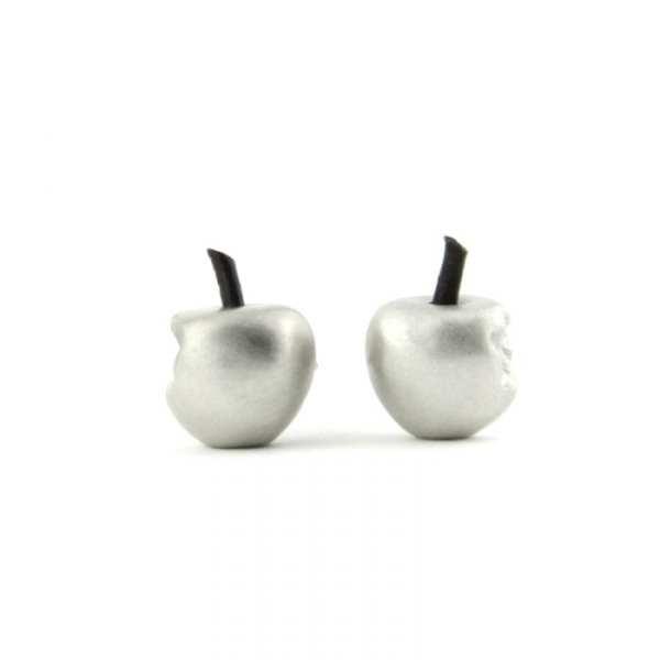 pendientes de plata manzana mordida