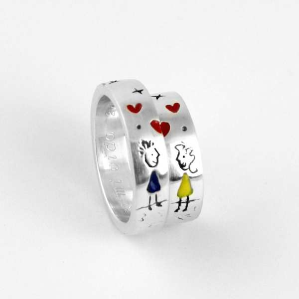 Silver engagement ring, Illustration boy and a Girl, original engagement rings