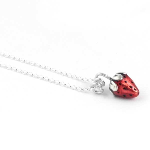 Silver Choker Necklace, Red Strawberry