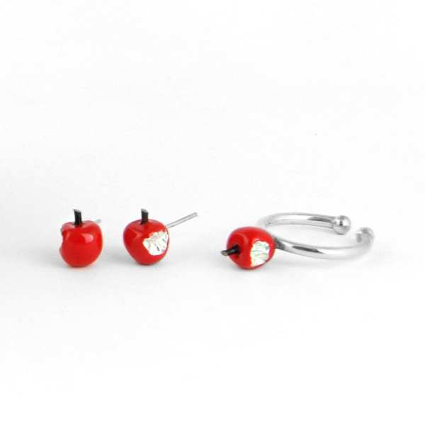 Silver Earrings, Red Apples