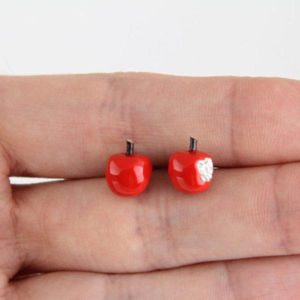 Pendientes de plata manzanas rojas