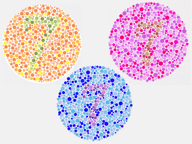 three color blind Ishihara test plates