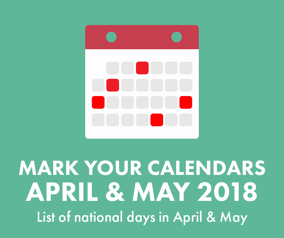 illustration of a calendar for April & May 2018 List of nationals days in April & May