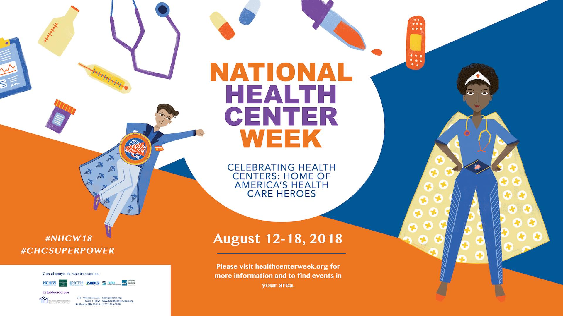 National Health Center Week Superhero banner