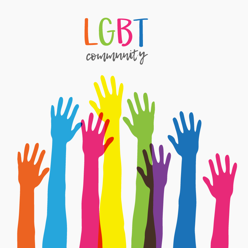 illustration of many color raised hands with lgbt community written above