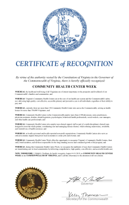 2019 Proclamation of Health Center Week in Virginia