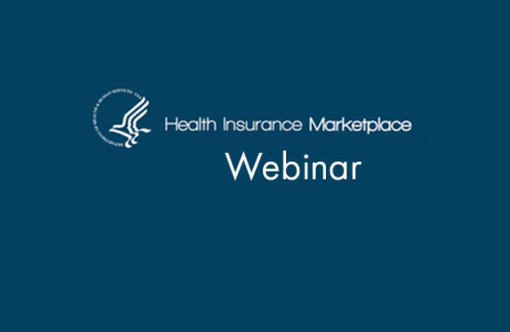 Blue background with Health Insurance Marketplace logo