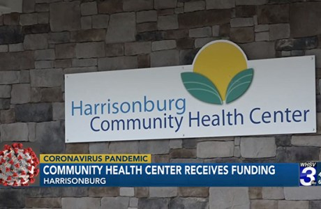 Screenshot from WHSV-TV 3 news segment on Harrisonburg Community Health Center. Exterior of Harriisonburg Community Health Center