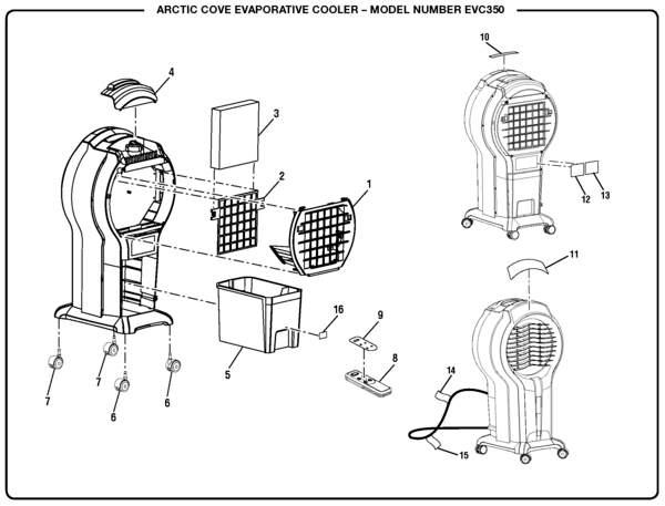 Arctic Cove EVC350 Evaporative Cooler Parts and