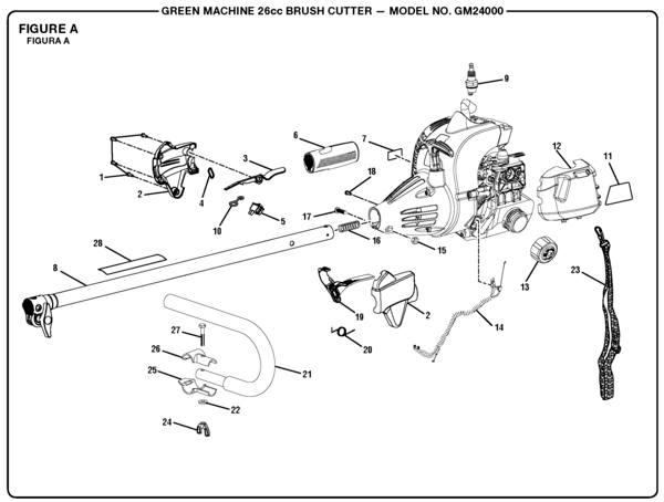 GreenMachine GM24000 26cc Brush Cutter Parts and