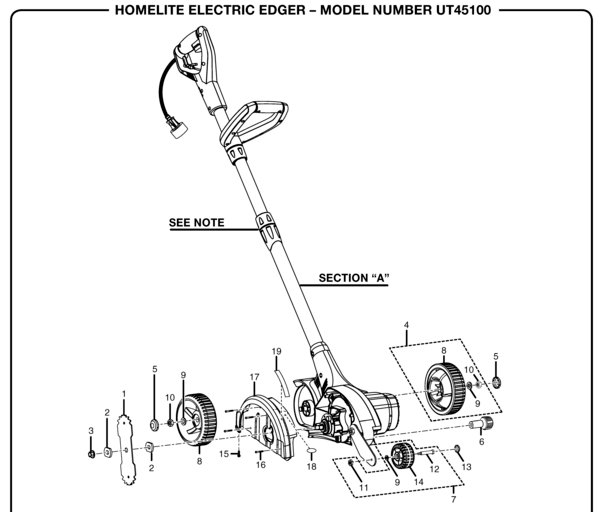 GreenMachine UT-45100 Electric Edger Parts and Accessories