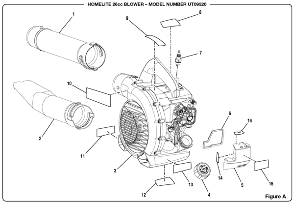 Homelite UT09520 26cc Blower Parts and Accessories