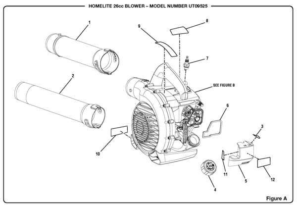 Homelite UT09525 26cc Blower Parts and Accessories