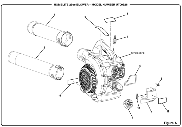 Homelite UT09526 26cc Blower Parts and Accessories