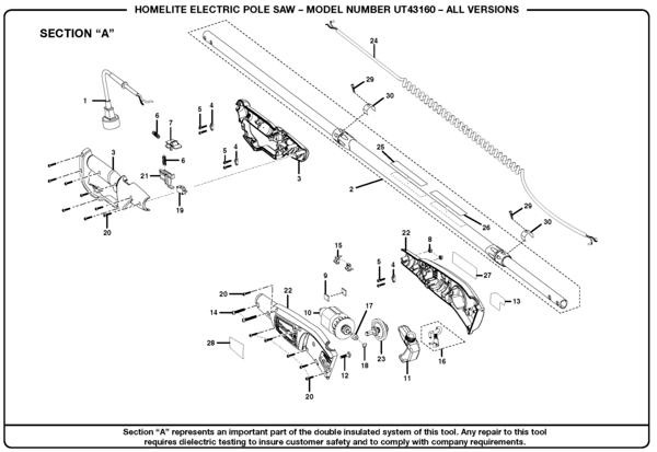 Homelite Electric Pole Saw UT43160 Parts and Accessories