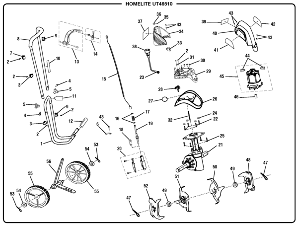 Homelite Electric Cultivator UT46510 Parts and Accessories