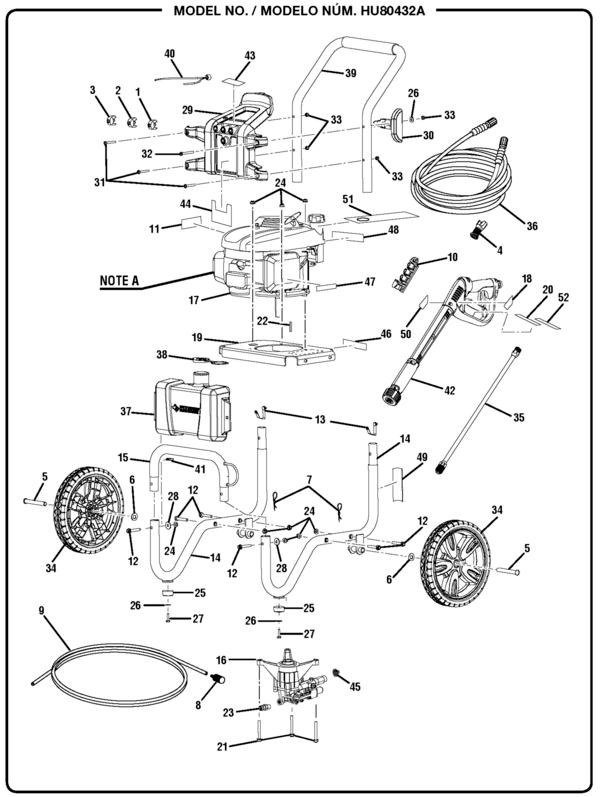 Husky HU80432A Pressure Washer Parts and Accessories
