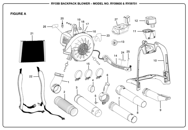 Ryobi RY09701 Backpack Blower Parts and Accessories
