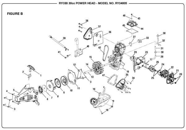 Ryobi RY34005 30cc Power Head Parts and Accessories