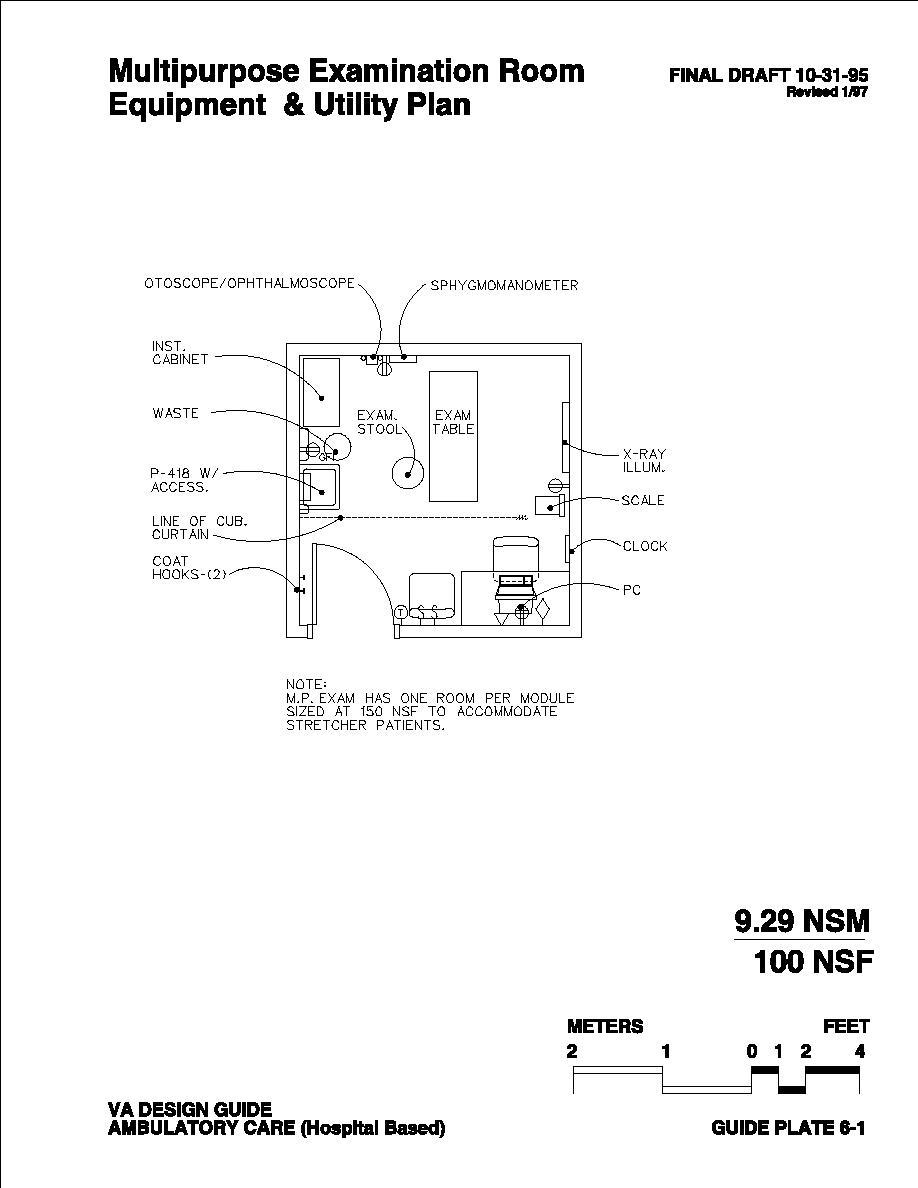 Multipurpose Examination Room Equipment & Utility Plan