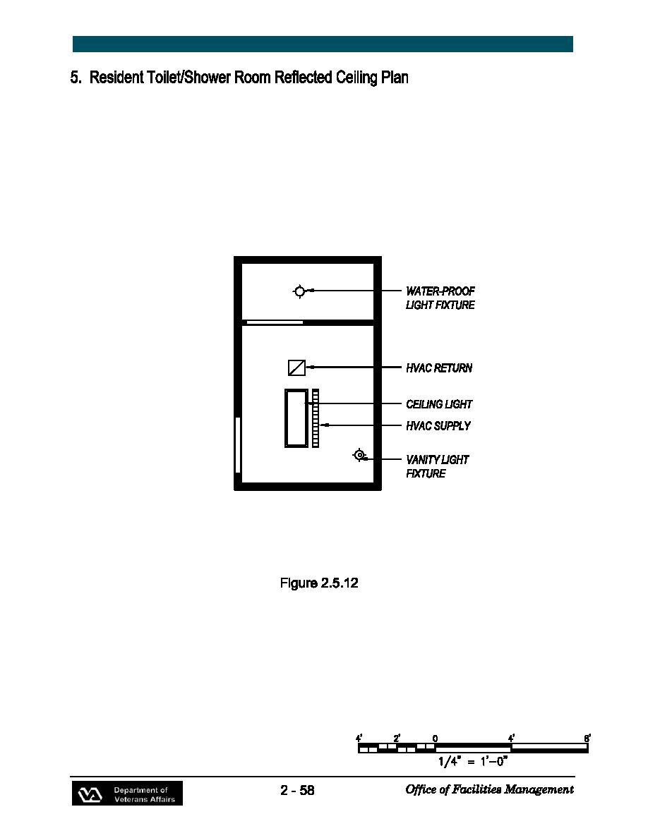 Resident Toilet/Shower Room Reflected Ceiling Plan