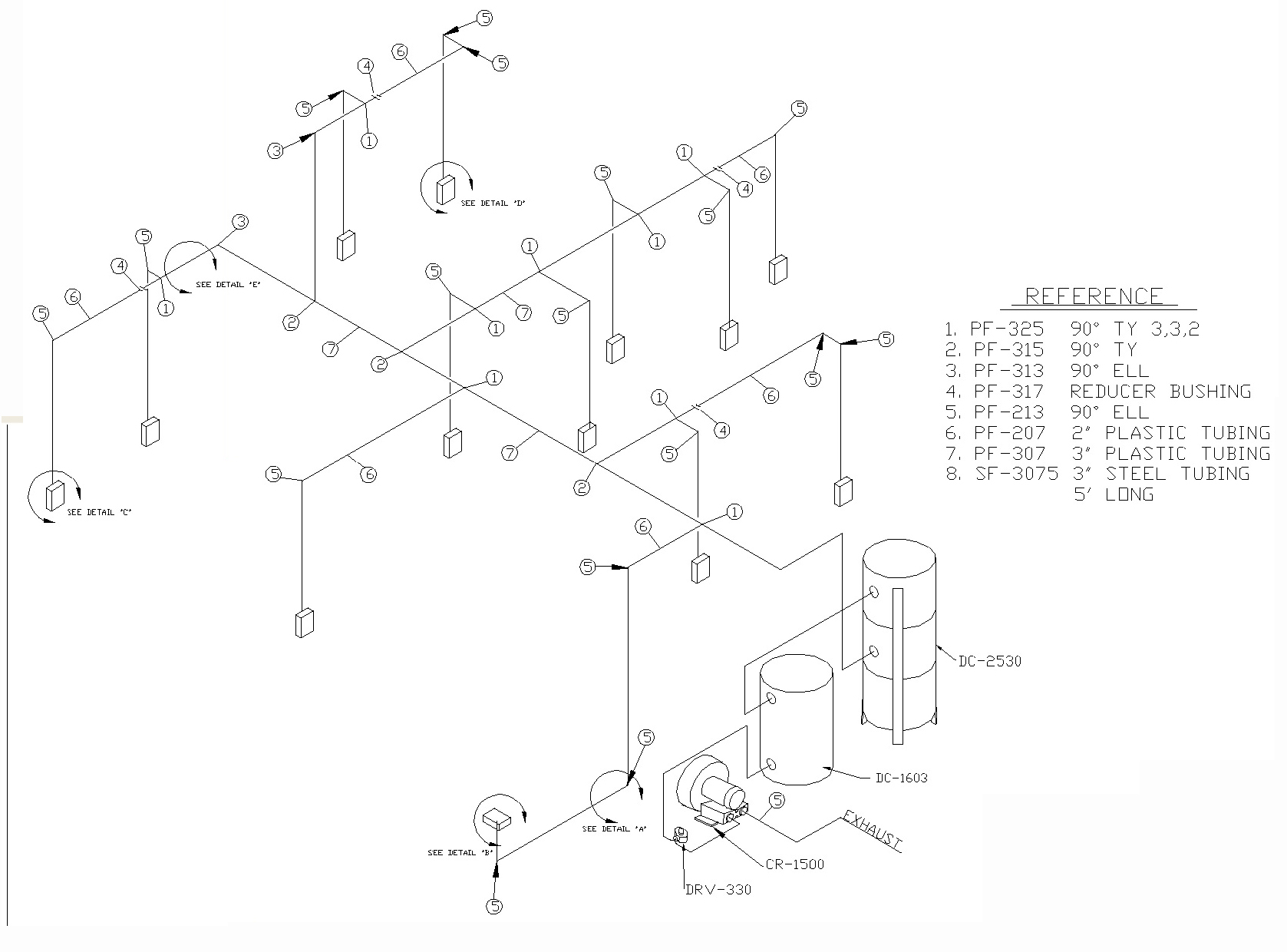 hight resolution of piping and tubing layout legend inlet valves x inlet valves selected for calculation a b and c three inlet valve locations have been selected for