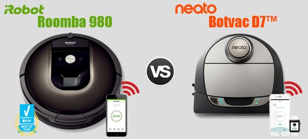 neato botvac d7 vs irobot roomba 980 best connected. Black Bedroom Furniture Sets. Home Design Ideas