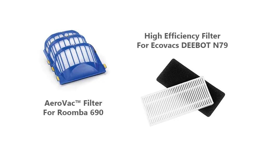 EcoVac Deebot N79 vs iRobot Roomba 690 Filter