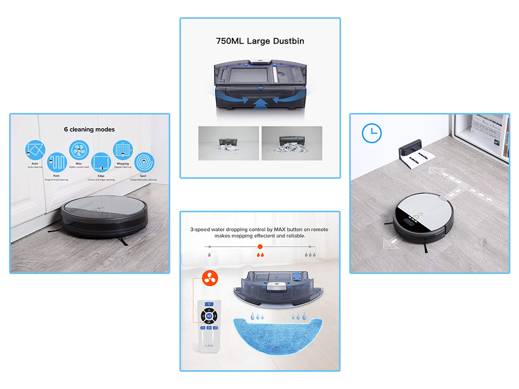 ILIFE V8s Robot Vacuum Cleaner and Mop Combo Features