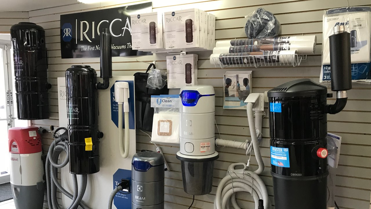 More Than Vacuums Englewood location central vacuum showroom. Riccar central vacuum, Beam canister, NuTone central vacuum, central vacuum parts