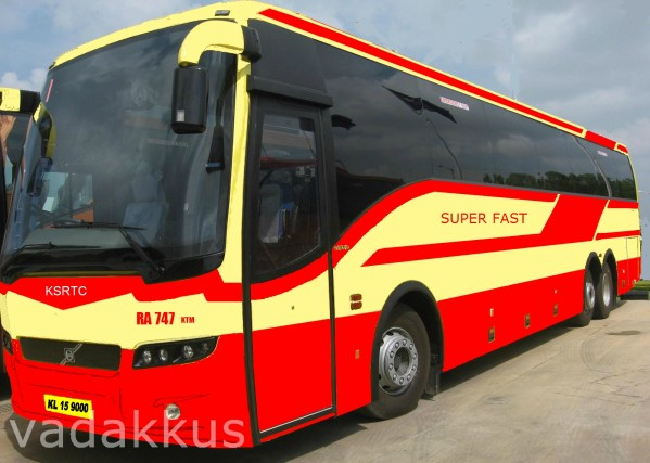 An imaginary (painted) picture of a Volvo Multi Axle B9R as a Kerala KSRTC SuperFast bus