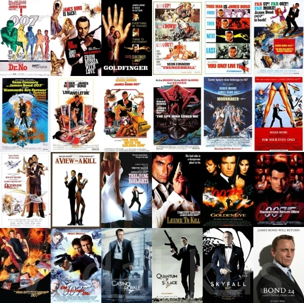 A Collage of all James Bond movie posters, including Bond 24
