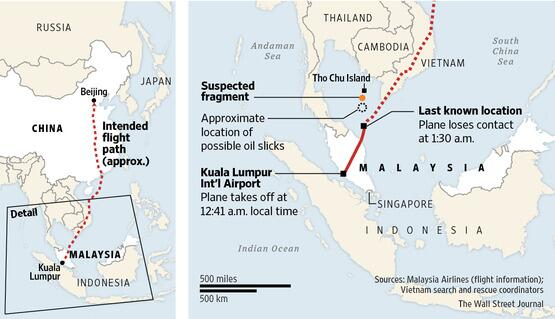 mh370 location map