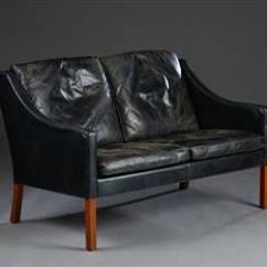 Borge Mogensen Sofa Model 2209 Cheap Cleaning Slutpris For 2 Pers Med Sort Laeder