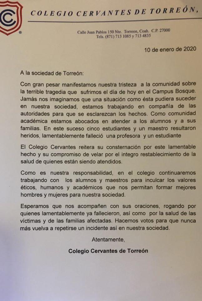 Emite Comunicado Colegio de Torreón tras la masacre ocurrida hoy viernes