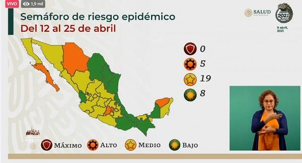 Colima se mantiene en color amarillo en el semáforo epidemiológico federal