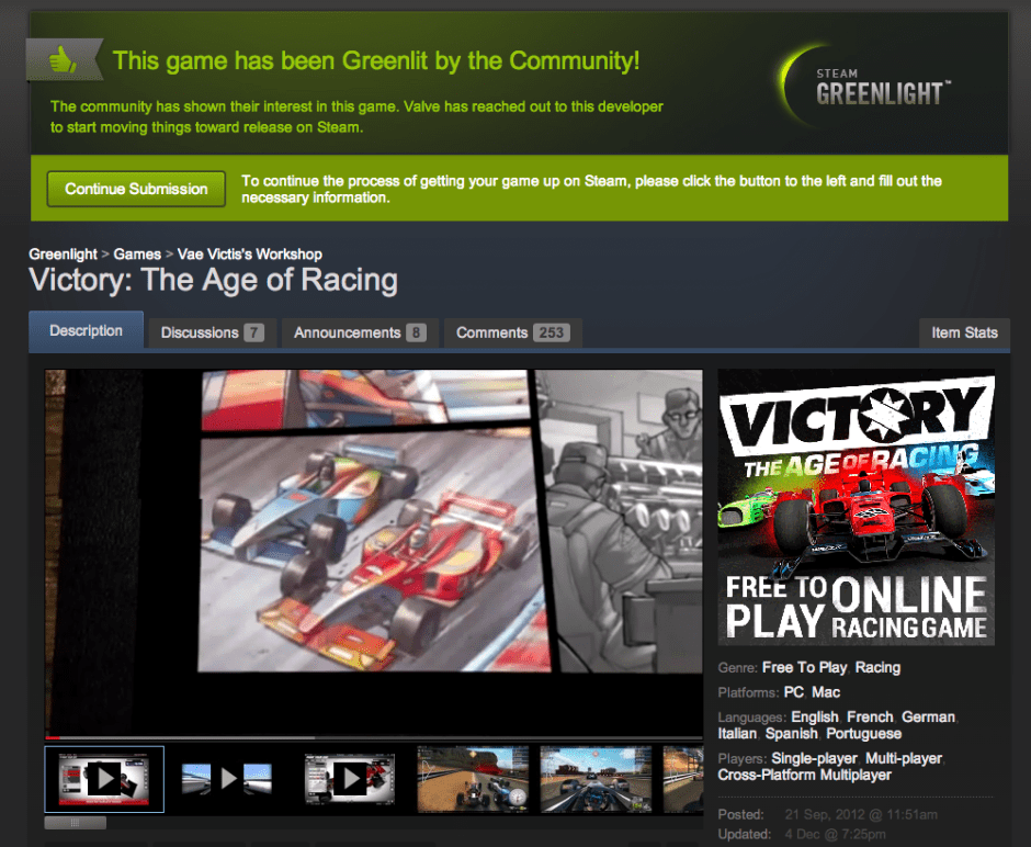 pageshot of 'Steam Greenlight Victory The Age of Racing' @ 2013-12-04-0757