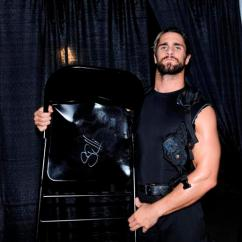 Steel Chair In Wwe Aeron Office Chairs Seth Rollins Used Signed Raw 06 02 14 Auction