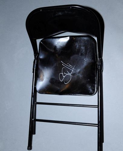 steel chair in wwe vintage wood seth rollins used signed raw 06 02 14 auction