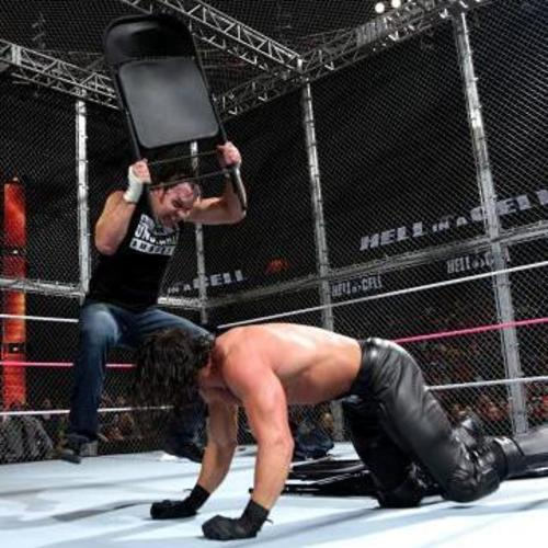 steel chair in wwe bouncy saucer dean ambrose used signed hell a cell 10 26 14
