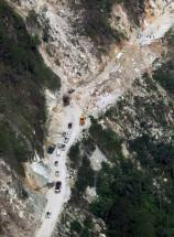 An areial view of a damaged road after landslide near Gaurikund