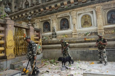 Security agencies inspecting the blast site at Bodh Gaya after the explosions