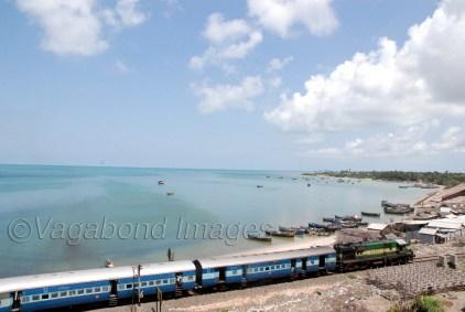 Train entering the Pamban island housing the famour pilgrimage site of Rameshwaram