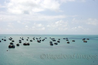Fishermen boats in the Pamban Bay close to Palk Strait as seen from Pamban bridge